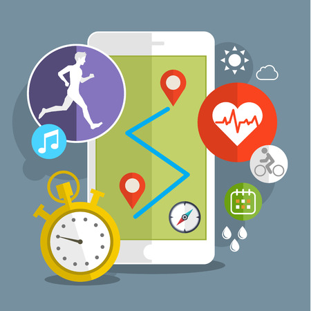 Smart phone with sport icons. Fitness app concept on touchscreen. Flat design vector illustration