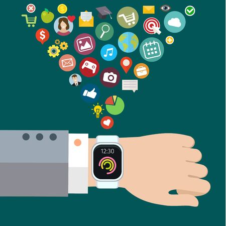 smart phone hand: Digital smart watch with the similar smart phone functions, mobile icon set. Vector illustration. Flat design