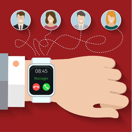 Groepsoproep via slimme horloges. Platte ontwerp, vectorillustratie Stock Illustratie
