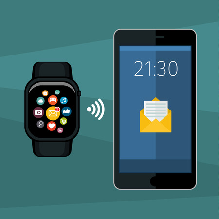 smart: Synchronization between smart watch and smart phone. Vector illustration of smart watch and smart phone communication. Flat design Illustration
