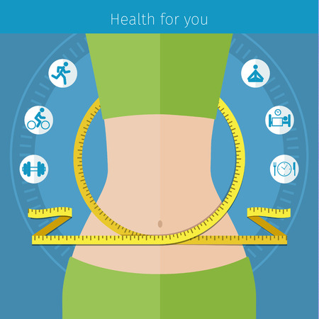 regime: Concept for keeping fit, weight loss, fitness, dieting, nutrition regime, healthy lifestyle. Flat design colorful vector illustration