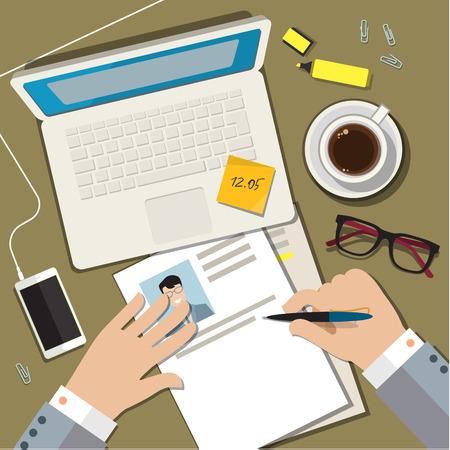 hoja de vida: Escribir un curriculum vitae cv concepto de negocio. Diseño plano ilustración vectorial Vectores