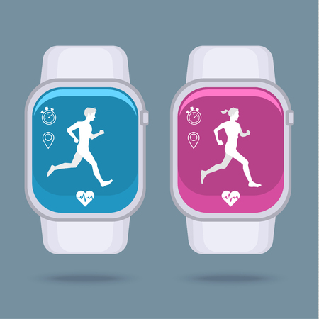 heart monitor: Smart watch technology with sport fitness tracker applications. Heart beat monitor. Healthy lifestyle outdoor running. Modern design with icons. Illustration