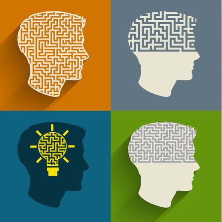 .. 플랫 디자인 벡터 일러스트 레이 션 의료 의사에 의해 해결하기 어려운 문제로 두뇌 사고의 복잡성의 상징으로 인간의 머리의 모양에 미로와 인간의
