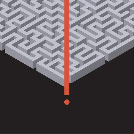 maze: Red path across maze. Concept of success. Flat design vector illustration Illustration