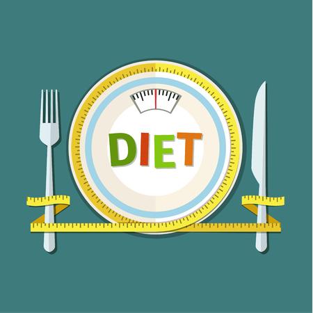 starvation: Concept for dieting, planned way of eating, nutrition regime. Colored flat design vector illustration