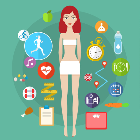 Concept for keeping fit, weight loss, fitness, dieting, nutrition regime, healthy lifestyle. Flat design colorful vector illustration