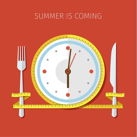 Konzept für eine Diät, geplante Art des Essens, Ernährung Regime. Farbige flache Design Vektor-Illustration