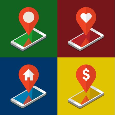 mobile app: Mobile phone with gps app on the screen. Searching for a place. Flat design vector illustration