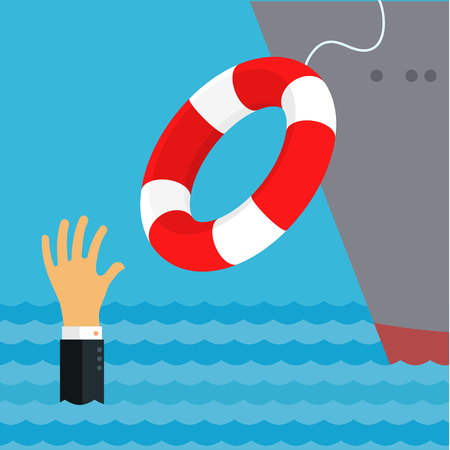 Helping Business survive, representing drowning businessman getting lifebuoy from big ship for help, support, and survival.