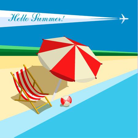 Vacances concept. Différents accessoires pour des vacances. style vecteur plat illustration