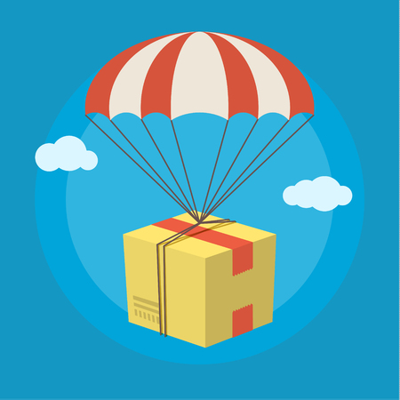 Concept for delivery service. Package flying down from sky with parachute. Flat design colored vector illustration.