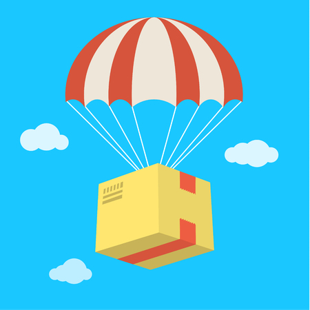 Concept for delivery service. Package flying down from sky with parachute. Flat design colored illustration.