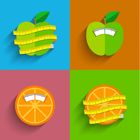malnutrition: Weight scale concept, illustration. Healthy lifestyle and losing weight symbols. Flat design Illustration