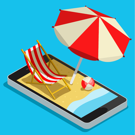 mobile accessories: Vacation with mobile phone concept. Touch screen smart phone with different accessories for vacation. Flat style illustration