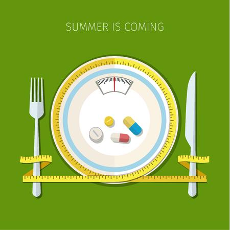 nutrici�n: Concepto para la dieta, de forma planificada de comer, r�gimen de nutrici�n. Color de dibujos dise�o plano