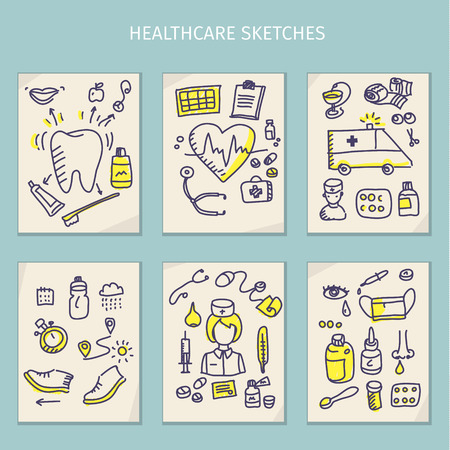 home care nurse: Medical hand draw integrated sketch set. Vector sketch illustration with line doodle. Vector illustration
