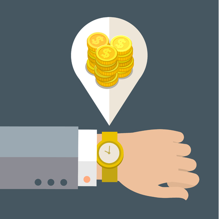 managing money: Time is money concept. Vector web banner template on time management in business and industry. Flat design