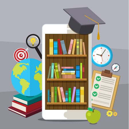 doctorate: Concept of education. Smartphone with graduation hat and bookcase on screen. Flat design