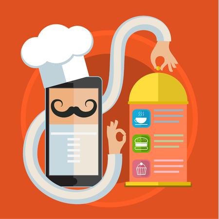 Concetto per cucinare a casa, alla ricerca ricette, istruzioni culinarie in internet. Design piatto illustrazione vettoriale colorato