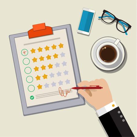 顧客フィードバックの概念。手の調査で優秀なマークをチェックします。フラットなデザインのベクトル図