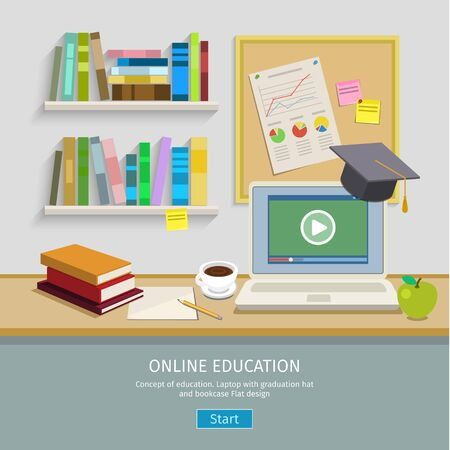 computer education: Modern creative workspace, workplace with computer for online education. The office of a creative worker. Flat minimalist style and color with long shadows. Office interior. Illustration