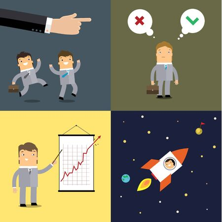 Set of cute businessman character in business concept of start up, rich, and being successful.