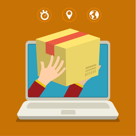 Concept for fast delivery. Flat design colorful vector illustration  イラスト・ベクター素材