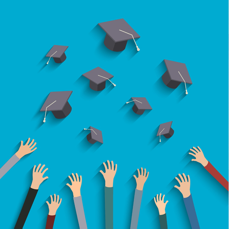 cap and gown: Concept of education. Graduates throwing graduation hats in the air.