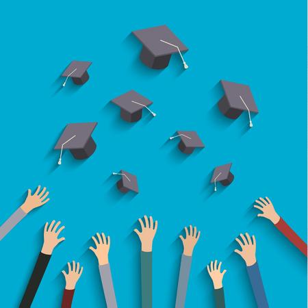 toga y birrete: Concepto de la educación. Graduados que lanzan los sombreros de graduación en el aire.