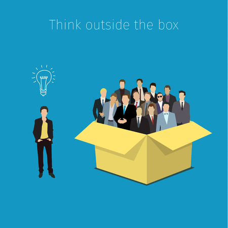 Concept of open minded. Man outside the box with symbol of idea. Flat design, vector illustration