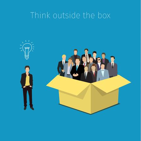 Konzept aufgeschlossen. Man außerhalb der Box mit dem Symbol der Idee. Flaches Design, Vektor-Illustration