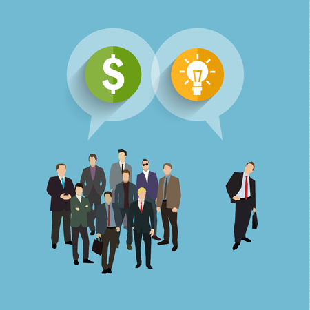 Concept of crowdfunding. A group of business people wearing suits and ties with idea and money. Vector illustration flat design Illustration