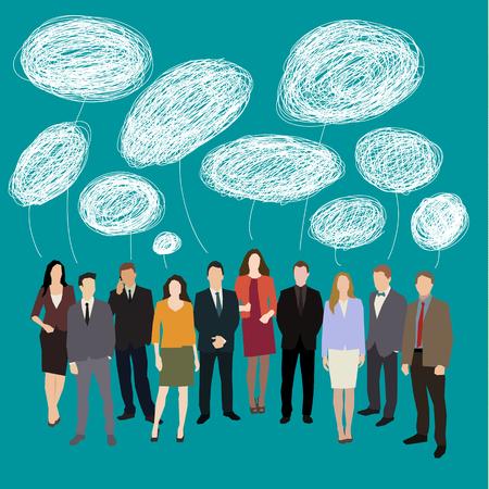 Konzept des Brainstormings. Gruppe von Menschen mit Sprechblasen. Flaches Design Vektor-Illustration