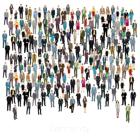 targets: Urban lifestyle concept. A large group of people. Flat design. Vector background