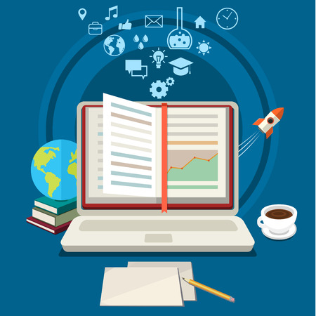 exam: Concept of online education. E-learning science with symbol of book like computer. Flat design, vector illustration