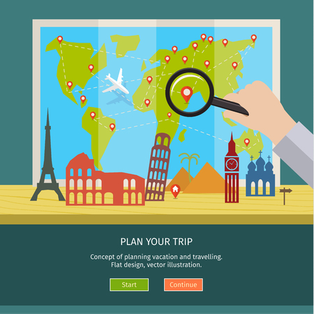 holiday budget: Concept of planning vacation. Colorful travel vector flat banner for your business, websites etc.