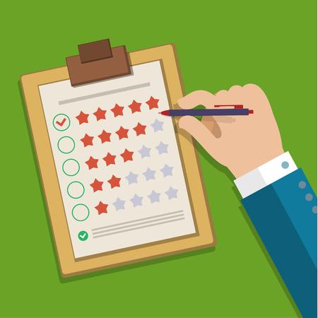 concetto di feedback dei clienti. Mano il controllo eccellente marchio in un sondaggio. Design piatto illustrazione vettoriale Vettoriali