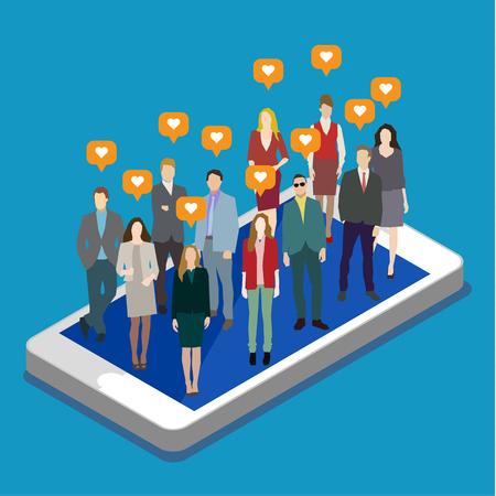 Concept of business social networking and communication. Flat design, vector illustration Иллюстрация