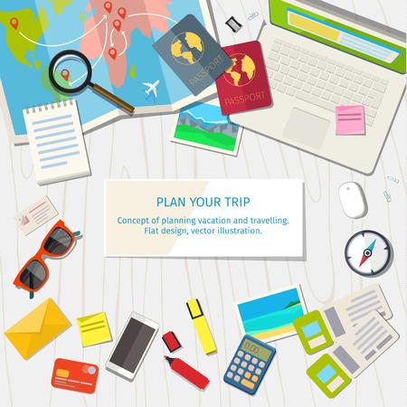 Concept van de planning vakantie en reis. Bovenaanzicht. Kleurrijke reizen vector flat banner voor uw bedrijf, websites etc.