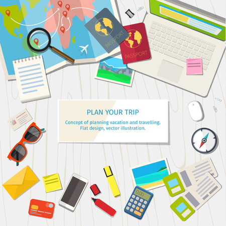 Concept of planning vacation and trip. Top view. Colorful travel vector flat banner for your business, websites etc.