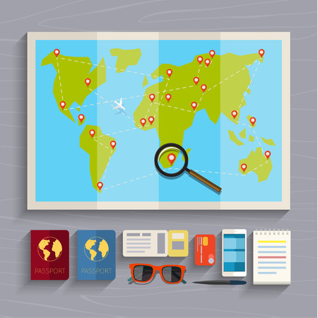 low cost: Concept of planning vacation. Colorful travel vector flat banner for your business, websites etc.