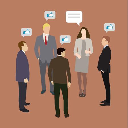 personas dialogando: Concepto de negocio de redes sociales y la comunicación. Diseño plano, ilustración vectorial