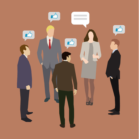 Concept of business social networking and communication. Flat design, vector illustration Illustration
