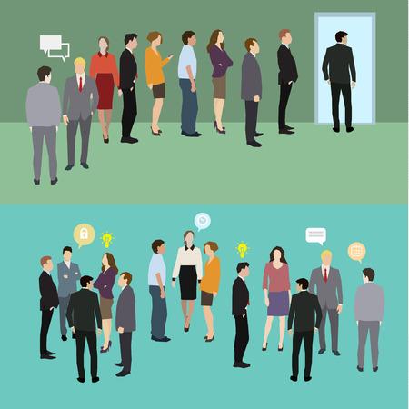 in row: La gente de negocios de pie en una línea. Diseño plano, ilustración vectorial
