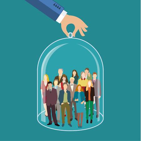 직원, 인적 자원, 생명 보험, 영업 및 마케팅 분할 개념에 대한 고객 관리, 관리. 사업가 또는 사람의 그룹을 대표하는 인원 및 아이콘. 평면 디자인, 벡 일러스트