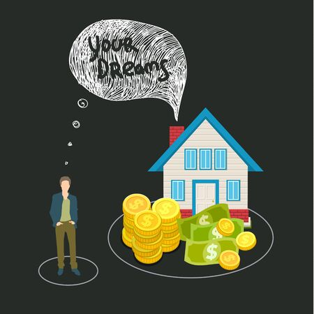Mortgage and credit concept. Young man planning his future. Flat design, vector illustration