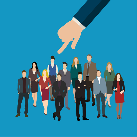 recruitment: Businessman hand pointing at woman in business concept of personnel selection, hiring or recruitment. Flat design vector illustration.
