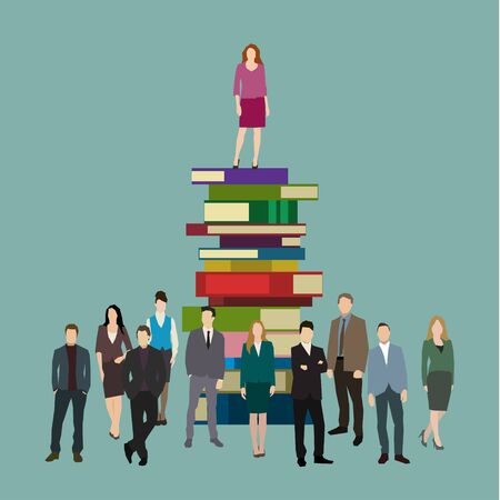 business opportunity: Concept of success. Business woman on the books. Flat design, vector illustration Illustration