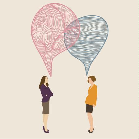 inteligible: Concepto de comunicación. Dos mujeres con globos de texto dibujado a mano. Diseño plano, ilustración vectorial